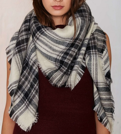 Willow Plaid Blanket Scarf, $28, nastygal.com