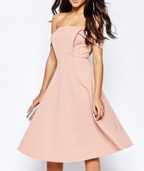 ASOS Midi Dress With Tab Shoulder and Full Skirt, $72, asos.com