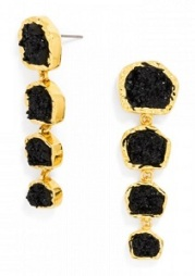 Midnight Druzy Drop Earrings, $36, baublebar.com