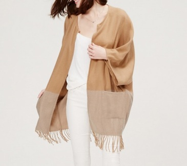 Color-block Fringe Poncho, $59.99 (plus 50% off), loft.com