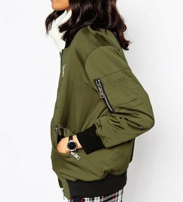 ASOS Bomber Jacket With Zip Detail, $95, asos.com