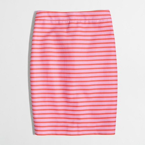 Factory Basketweave Pencil Skirt in Lilac Papaya, $52.50, jcrewfactory.com