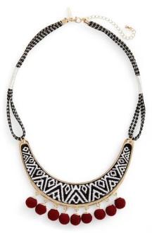 Topshop Pompom Trim Monochrome Necklace, $22, nordstrom.com