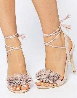 Daisy Street Blush Pom Ghillie Lace Up Heeled Sandals, $57, asos.com