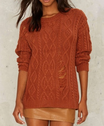 JOA Cable Thrill Shredded Sweater, $78, nastygal.com