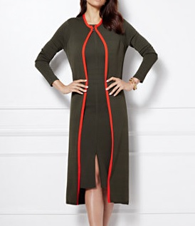 Eva Mendes Collection Contrast Trim Knit Duster, $23.48, newyorkandcompany.com