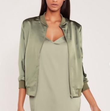carli bybel satin bomber jacket green