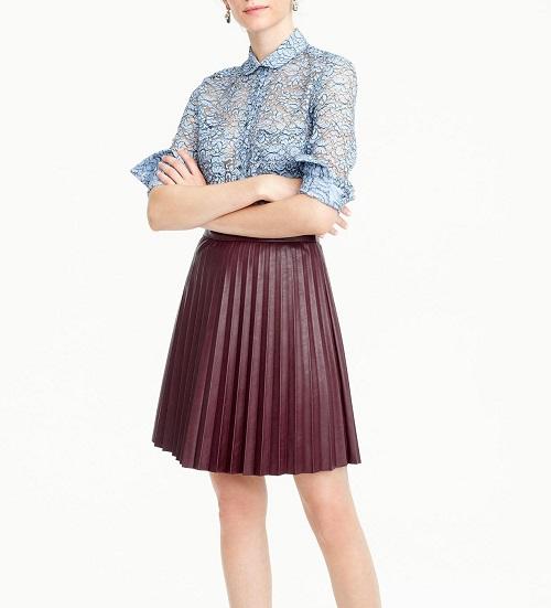 Faux Leather Pleated Mini-Skirt, $98, jcrew.com