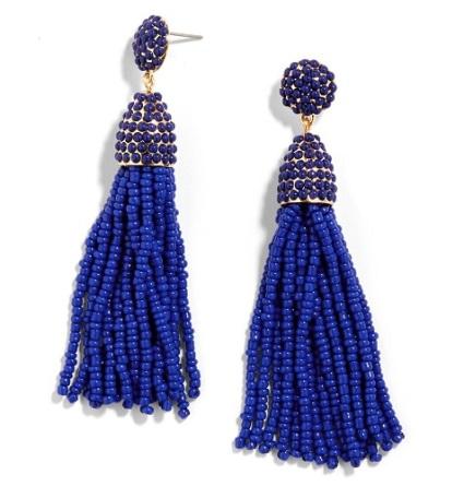 Pinata Tassel Drop Earrings in Cobalt, $36, baublebar.com