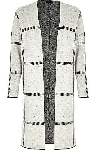 Grey Check Knitted Cardigan, $100, riverisland.com
