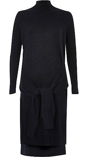 Navy Knit Tied Front Turtleneck Dress, $90, riverisland.com